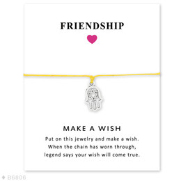 Wholesale Wholesale Leather Hamsa Bracelet - (10 pcs lot) Silver All is Well Hamsa Hand, Hand of Fatima Charm Bracelets & Bangles for Women Girls Adjustable Friendship Jewelry with Card