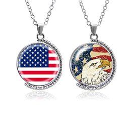 Wholesale glass globe necklace - Time Gemstone Necklace Double Glass Rotatable Pendants Jewelry Accessorices Various Pattern Globe American Flag Map Owl Rhinestone A43