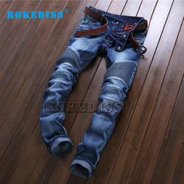 Wholesale Alternative Media - Wholesale- High-end Men's jeans Elasticity Slim Trousers Trend Splicing Frayed Alternative Nightclub Sportsman Ripped jeans B117
