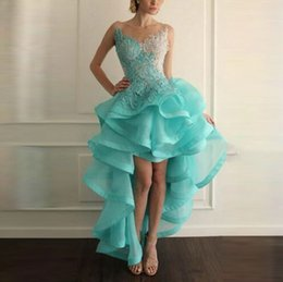 Wholesale Beach Evening Wear - elegant cocktail party dress v-neck backless organza appliqued sleeveless Cascading Ruffles ball gown hi-lo prom dress beach evening wears