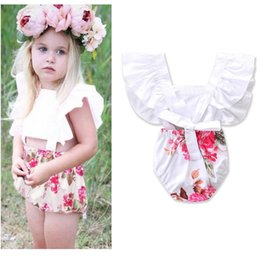 Wholesale Toddlers Neck Tie - Ins 2017 Summer Baby Girls Cute Bodysuits Floral Backless tie-wrap Flare Sleeve Jumpsuits Overalls Toddler Clothes E17207