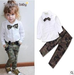 Wholesale Organic Baby T Shirts Wholesale - Ins Girls Outfits for Baby Girls Clothing Sets White Ruffle T Shirt Tops Camouflage Pants 2 Piece Outfits Kids Clothing Baby Clothes 2-6Y