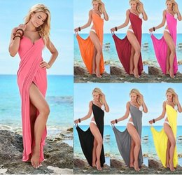 Wholesale Summer Beach Cover Up Long - Plus Size Sexy Beach Long Split Summer Dress Backless V Neck Women Cami Dress Casual Maxi Club Party Dresses Robe Vestido Bikini Cover Up