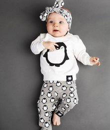 Wholesale Penguin Suits - Wholesale- 2016 baby girl clothes cotton long sleeved penguin T-shirt+pants+headband newborn infant 3pcs suit baby boys girls clothing sets