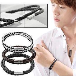 Wholesale Mens Weave Bracelet Leather - Wholesale- Multi-color LEATHER WRISTBAND WOVEN MULTI-LAYER MENS & LADIES BRACELET BRAIDED