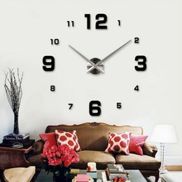 Wholesale Big Wall Mirrors - Wholesale-2015 home decor circular wall clock modern big 3d diy acrylic mirror quartz sticker clocks adhesive wall clock free shipping