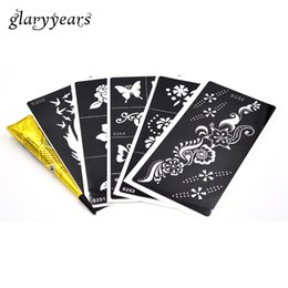 Wholesale Tattoo Pieces Arm - Wholesale- 5 Pieces Medium Henna Stencil + 1 Piece Black Henna Paste DIY Drawing Hollow Tattoo Template Body Arm Chest Back Art Paint Beach