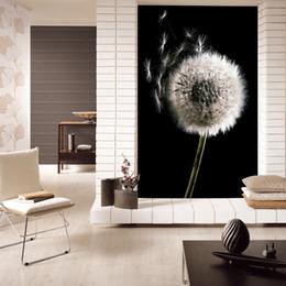 Schwarze weiße moderne tapete online-Moderne Kunst Schwarzweiss-Löwenzahnabstrakte Kunst Kundenspezifischer Hintergrundtapetraum der Kunst 3d tanzend Wand-wasserdichter Hauptdekor
