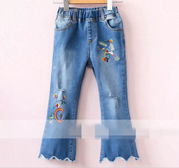 Wholesale Baby Embroidered Pants - 2017 New Baby Girls Jeans Elastic waist embroidered Denim Trousers Children Clothing 2-8Y 317371