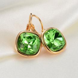 Wholesale Black Square Earrings For Women - Fashion Austrian Crystal Gold Square Earrings For Women Popular Rhinestone Stud Earrings Jewelry female brincos