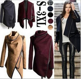 Wholesale Women S European Coats - 2018 Fall Winter Women Clothes Coat European and American Style New Trench & Blends Coats Ladies Trim Personality Asymmetric Rules Jacket 46