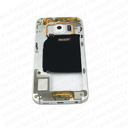 Wholesale Bezel Frame - 50PCS Original Metal Middle Bezel Frame Case For Samsung Galaxy S6 Edge G925F G925A G925P Single Card Housing with Camera Glass Side Button