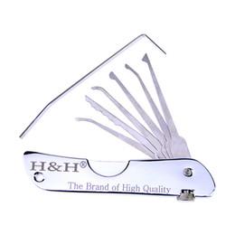 Wholesale Lock Pick Padlock - 6-in-1 Stainless Steel Pocket Folding Lock Pick Set, Locksmith Tools for H&H fold pick tool, padlock tool ,lock pick tools