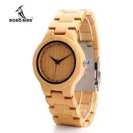 Wholesale Japan Watches For Women - BOBO BIRD Bamboo Wooden Watches for Women Wood Case Band Japan 2035 Movement Quartz Watch accept OEM Customize 2017 Fashion Gift Box