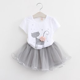 Wholesale Girls Kitten Dresses - Wholesale- 2016 Autumn New Baby Girls Clothing Sets Fashion Style Cartoon Kitten Printed T-Shirts+Net Veil Dress 2Pcs Girls Clothes