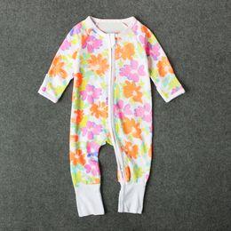 Wholesale Cloths For Baby Boys - Baby cute printing long sleeve rompers cartoon printing dinosaur banana flower zipper onesie for infants boys girls 0-3T ins hot kids cloth