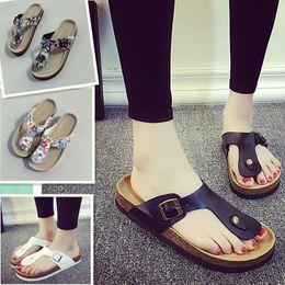 Wholesale Wholesale Flip Flops Buckle - Fashion Unisex Slippers Flip Flops Summer Beach Cork Shoes Slides Girls Flats Sandals Casual Shoes Mixed Colors b903