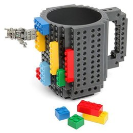 Wholesale Toys Tea Set - 12oz   350ML DIY Building Block Puzzle Coffee Mug Dining Cups Tea Cup Drinkware Mugs with Building Bricks Assembly Toy Set - Gray