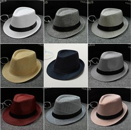 Wholesale Boys Summer Fedora Straw Hat - Vogue Men Women Soft Fedora Panama Hats Cotton Blending Straw Caps Outdoor Stingy Brim Hats Spring Summer Beach 34 Colors YYA467