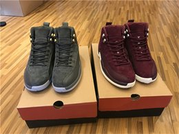 Wholesale Air Carbon - 2018 Release Air Retro 12 Bordeaux Mans Basketball Shoes Sneakers Men 12s Sneakers Real Carbon Fiber Grey Purple Shoes 130690-617