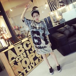 Wholesale Women Sexy Figures - New Girl Dress Fashion Lady Sequins Top Five Sleeve T-shirt Figure Pattern Dress 5 p l