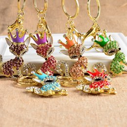 Wholesale Rhinestone Crown Keychain - 2017 Adorable Rhinestone Pretty Crown Fox Keychain Key Ring Key Chain Girly Hostess Gift For Girl Women Bag Pendant 7 Styles C8L