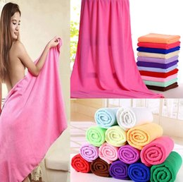 Wholesale Bath Shower Towel - Microfiber Bath Towels Beach Drying Bath Washcloth Shower Towel Swimwear Travel Camping Towels Shower Cleaning Towels 70x140cm KKA1406