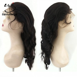 Wholesale Remy Wig Full Cap - chinese supplier wholesale 16inch #1B color 130% density virgin remy human hair full lace front wigs with cap