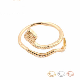 Wholesale Adjustable Snake Rings - Fashion Rings Adjustable Cute Snake Ring Silver Gold Rose Gold Plated Brass Jewelry for Women Girl Can Mix Color EFR072 Factory Price