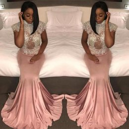 Wholesale Cheap Hourglass - 2017 High Neck Dusty Pink Vintage Mermaid Long Prom Dresses Long Cap Sleeve Lace Beaded Evening Dress Cheap Graduation Gowns