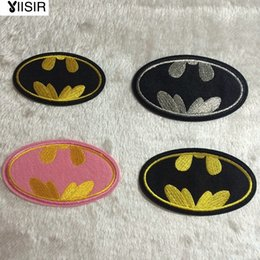 Wholesale Wholesale Applique Fabrics - Fabric Batman Logo Cartoon Hotfix Motif Embroidered Clothes Patches,Sew On,Iron On Patch,Clothing Appliques For Biker