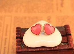 Wholesale Peach Sapphires - Fashion small fresh love gem ear buckle earrings temperament peach heart stud earring wholesale free shipping