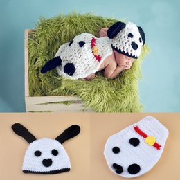 Wholesale Baby Dog Photos - Crochet Lovely White Dog Cap Photography Props Design Baby Hat Newborn Photo Props Knitted Baby Costume Crochet Baby Cap BP067