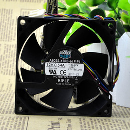 Wholesale Master Dc - Wholesale- Free Shipping For Cooler Master A8025-42RB-61P-P1 DC 12V 0.54A 4-wire 4-pin connector 80mm 80x80x25mm Server Cooling Square fan