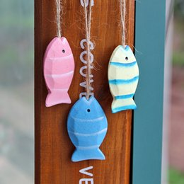 Wholesale Home Decoration Fish - Wooden Fish Hanging Ornament Mediterranean Style Wall Art Kids Room Home Interior Design Vintage House Decoration Wood Crafts