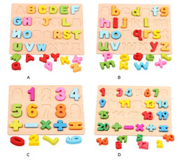 Wholesale Mat For Puzzle - 26 pcs and Number Puzzle English Educational Toy Alphabet A - Z Letters Educational Mat for Children Wooden Toys c037