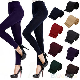 Wholesale Wholesale Womens Leggings - Wholesale- 2016 hotFitness High Street Lady Womens Winter Warm Skinny Slim Stretch Thick Footless Leggings 8QB8