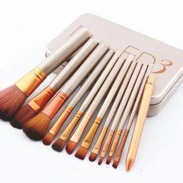Wholesale Cosmetic Gift Sets Wholesale - Professional Makeup Brushes Sets Make up Sets Brush Kit Makeup Cosmetic Brush Iron Box 12pcs set Gifts Free DHL
