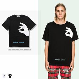 Wholesale Off Dry - 2017 new summer street off-OW alphabet finger print fashion t-shirt 100% cotton t-shirt feminino men t short sleeve shirts