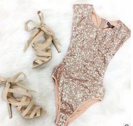 Wholesale Sleeveless One Piece Bathing Suit - Sequin Triangle Siamese Pants 2017 women Bathing Suit ladies Gold sequins sleeveless playsuits Swimwear Beach one-piece swimsuit