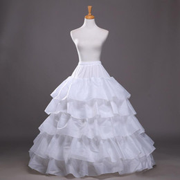 Wholesale Hoop Skirts For Cheap - 2016 New Ball Gown Petticoat White Crinoline Underskirt Wedding Dress Slip 3 Hoop Skirt Crinoline For Quinceanera Dress Cheap Free Shipping