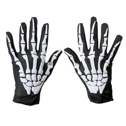 Wholesale Black Fancy Dress - Unisex Women and Men Wrist Length Scary Gloves Halloween Skeleton Bone Print Short Gloves Fancy Dress Black Green Gloves