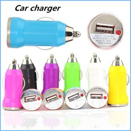 Wholesale Colorful Ego Usb - Colorful Car Chargers Bullet Mini USB Iphone USB Adapter Cigarette Lighter For Iphone 7 Plus For Samsung S7 S6 Ipad Pro EGO Charger