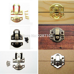 Wholesale Silver Edge Jewelry - Wholesale- 12pcs Decorative Iron Antique Brass Silver Golden Jewelry Box Gift Wine Wooden Case furniture Hasp Latch Lock Clasp 26mm X 29mm