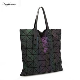 Wholesale Clutch Bags Colorful - Wholesale-2016 BaoBao issey female frosted luminous Big Shouler bags miyake luxury Colorful Folding handbags women clutches bolsa feminina