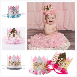 Wholesale Tiara Bride Crown - Baby Birthday Headbands Girls Flower Bride Crown headbands Wedding Tiara hairbands kids princess Glitter Sparkle hair accessories KHA338