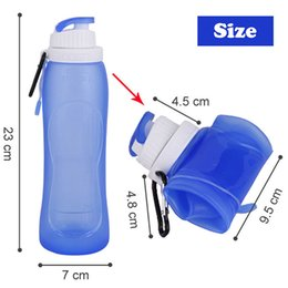 Wholesale Collapsible Water Bottle Wholesale - Creatives Foldable Silicone Drink Sport Water Bottle Cup Double Leak Proof Camping Travel Plastic Collapsible Bicycle Bottle