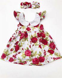 Wholesale Dress Baby Band Flower - Sweet Girls Flower print princess dress 2pc set head band floral dress baby peas collar summer dress for 1-4T