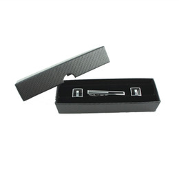 Wholesale Paper Clip Black - square Black Cufflinks and Tie Clip set Gift Box Storage paper and velvet inner men jewelry box CTB102