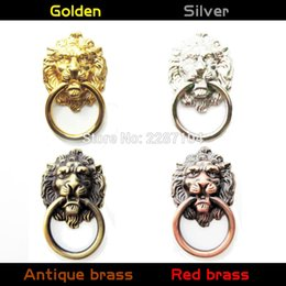 Wholesale Vintage Screws - Wholesale- Vintage Decorative Metal Lion Head Furniture Door Cabinet Dresser Drawer Pull Handle Knob O Ring 5 length screw can be choose
